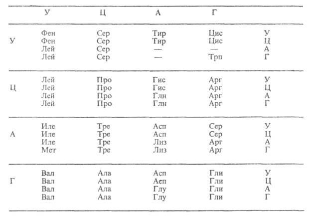 днк таблица генетический код для